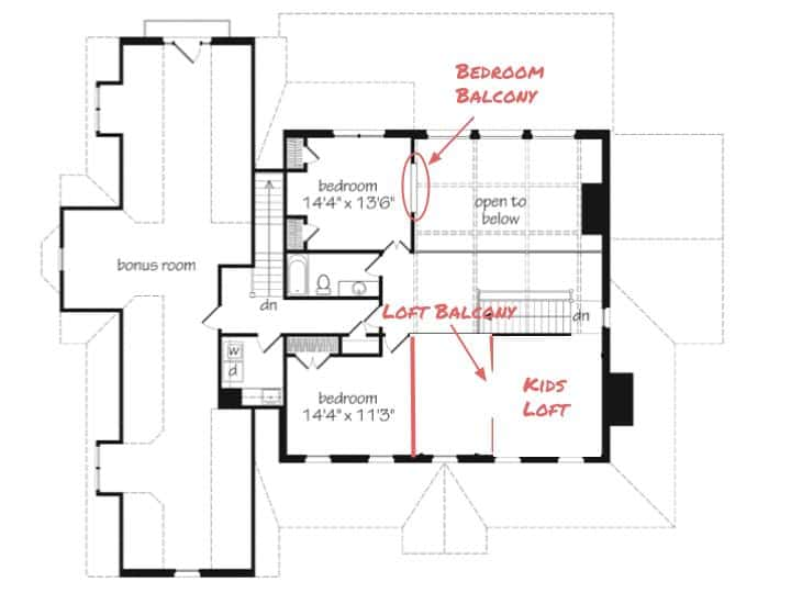 french country home upstairs plan