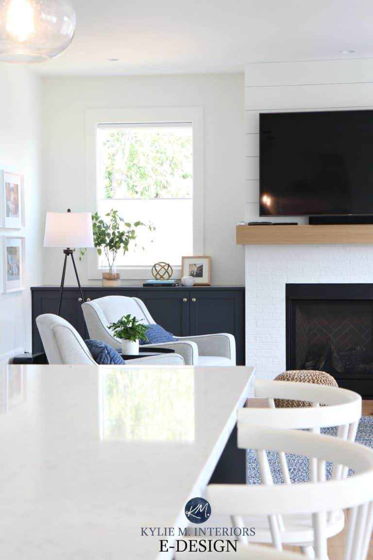 Kylie-M-Interiors-online-paint-colour-consultant.-Living-room-with-shiplap-and-fake-white-brick-fireplace-and-tv.-Pure-White-walls-and-trim-built-in-cabinet-in-Cyberspace-768x1152