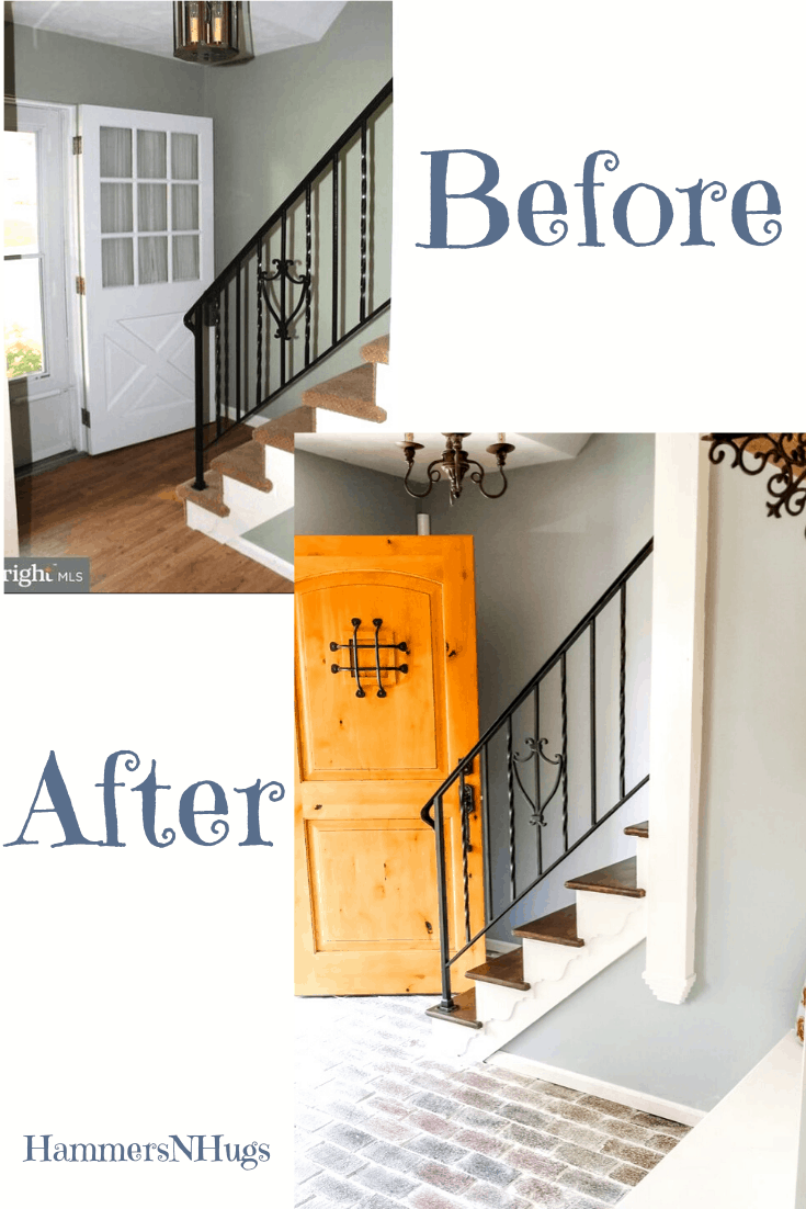 Before and After French Country Cottage Foyer Renovation