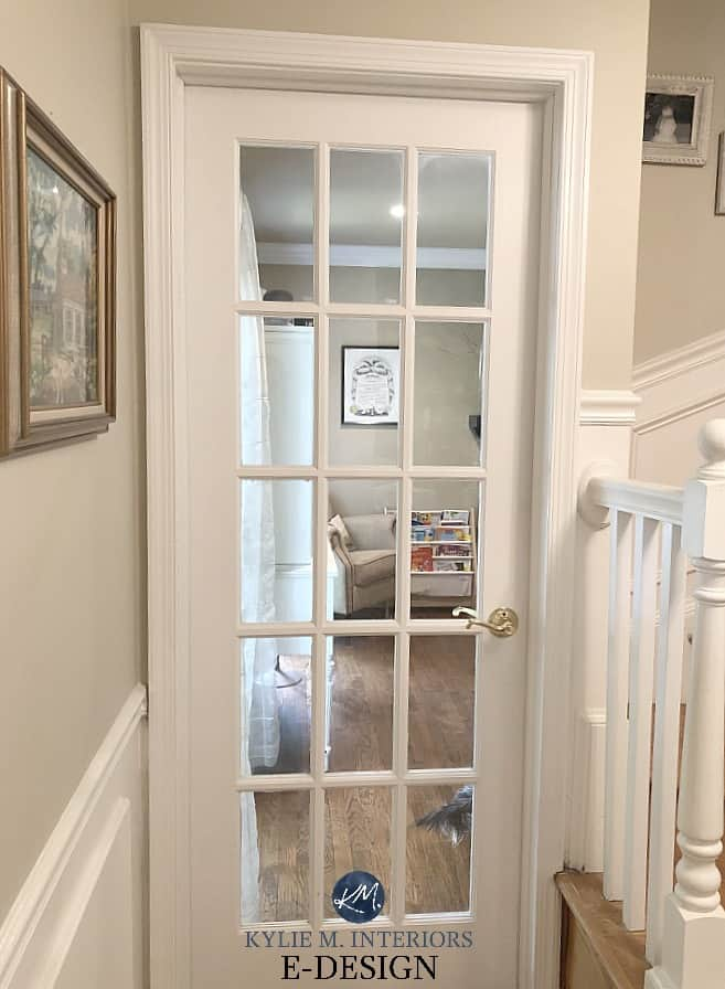 Benjamin-Moore-Manchester-Tan-paint-colour-on-walls-Simply-White-on-wainscoting-door-and-trim.-Kylie-M-Interiors-Edesign-and-online-paint-colour-consultant