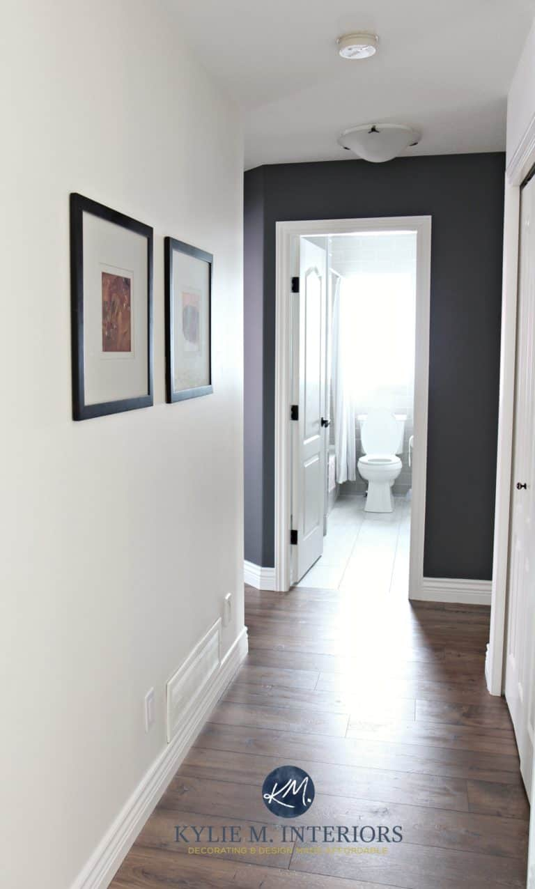 Hallway-update-with-wood-look-laminate-flooring-Sherwin-Williams-Creamy-and-Benjamin-Moore-Gray-feature-wall-or-accent-wall.-Kylie-M-Interiors-E-design-768x1276